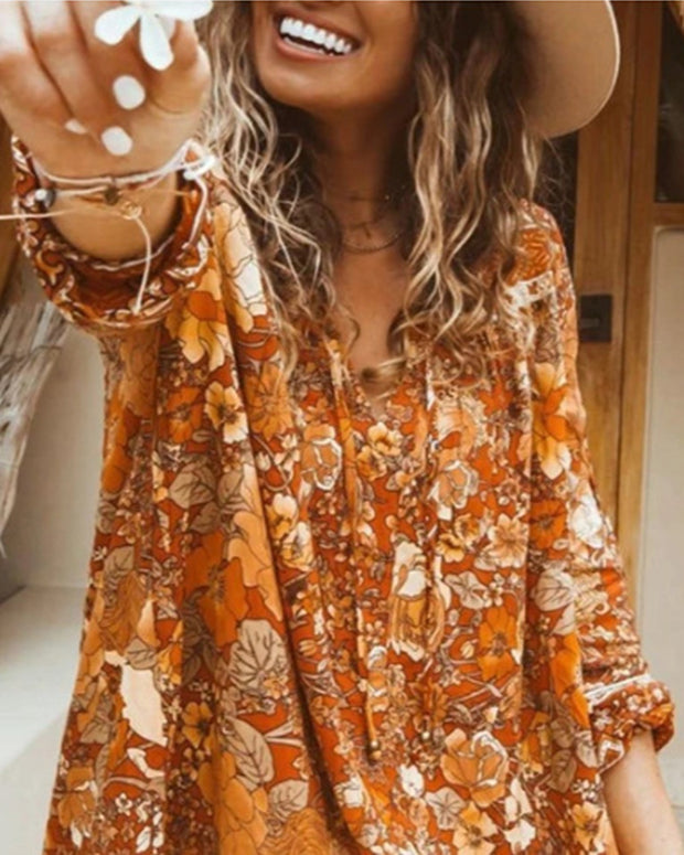 Vintage Style All Over Print Long Sleeve Mini Dress