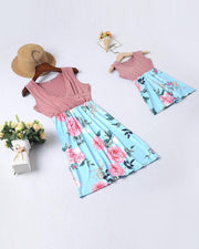 Floral Print Contrast Hem Dress For Little Girls