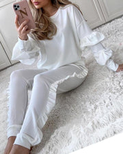 Solid Ruched Ruffles Casual Top & Pant Set