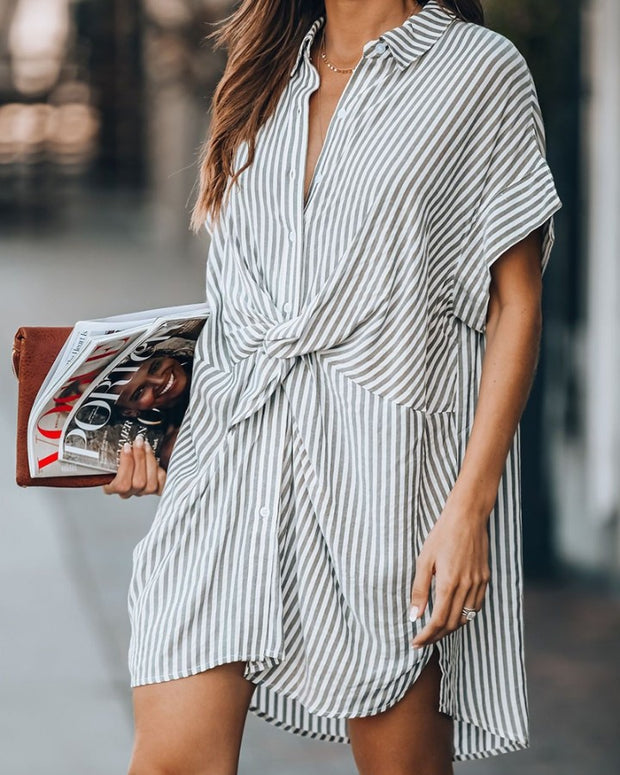 Striped Twist Front Shirt Mini Dress