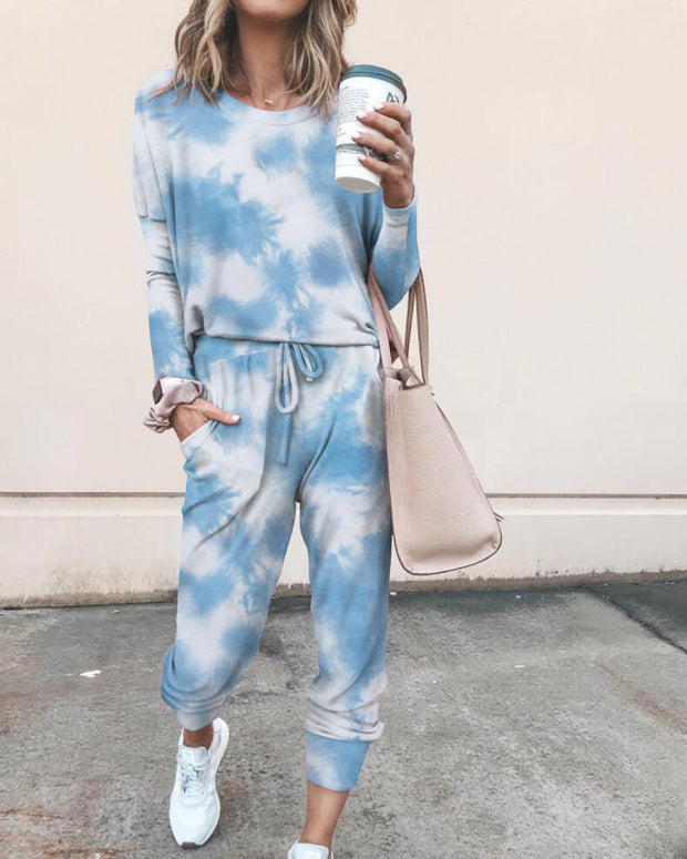 Tie Dye Print  Top & Casual Pant Sets