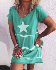 Star Print T-Shirt Dress
