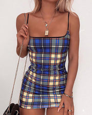Spaghetti Strap Colorblock Grid Print Dress