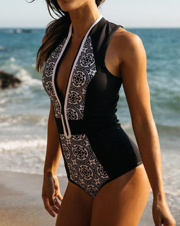 Print Colorblock Zipper Design One-Piece Swimsuit