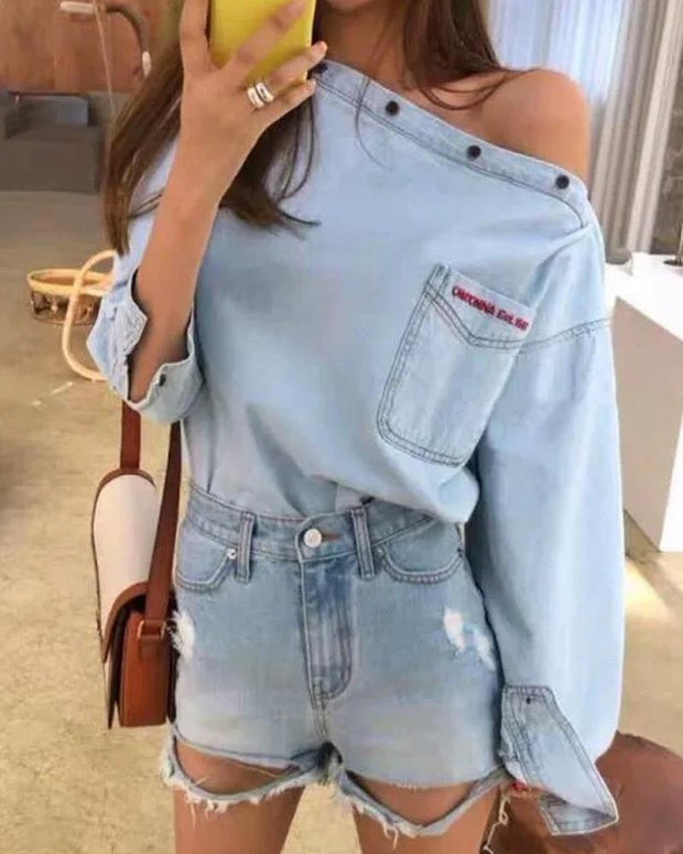 Letter Embroidery Denim Top