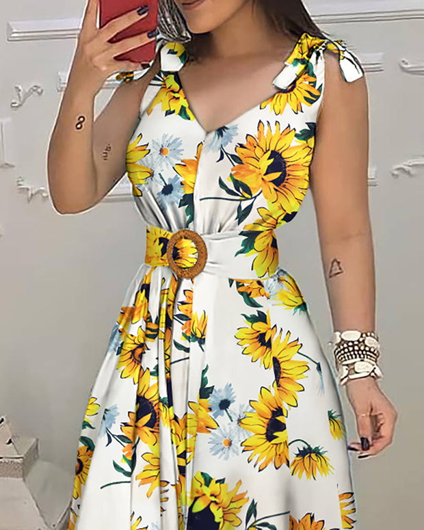 Sunflower Print Tied Detail Sleeveless Maxi Dress