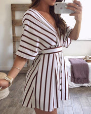 Stripes Plunge Neck Open Back Casual Dress