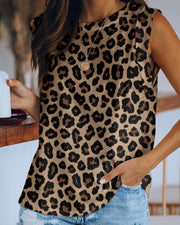 Leopard Print Round Neck Top