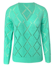 Geometric Pattern Hollow Out Knit Sweater