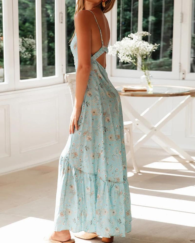 Floral V Neck Front Slit Dress