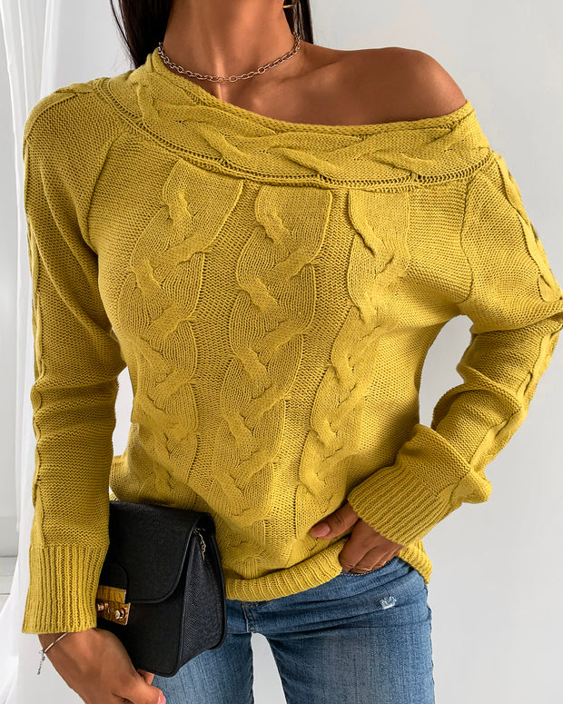 Solid Knit Braided Long Sleeve Sweater
