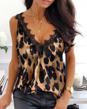 Leopard Print Lace Trim Sleeveless Top