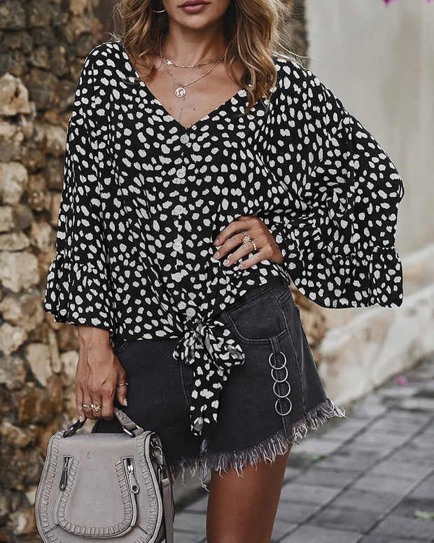 V-Neck Long Sleeve Polka Dot Blouse