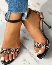 Studded Ankle Buckled Thin Heeled Sandals