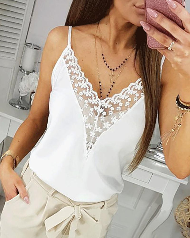 Lace Splicing Deep V Cami Top