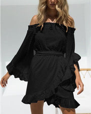 Off Shoulder Lace Ruffle Dress