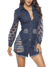 Lace Long Sleeve Denim Dress