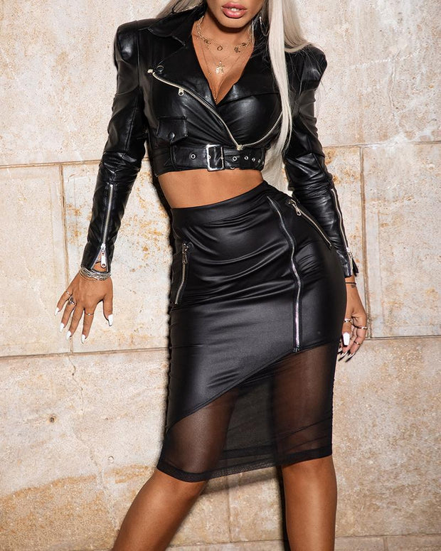 PU Zipped Cuff Crop Jacket & Patchwork Mesh Skirt Sets