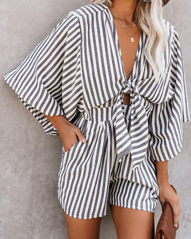 Striped Pocket Design Casual Romper