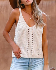 Perforated Knitted Tank Top