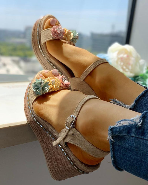 Suede Flower Embellished Platform Wedge Sandals
