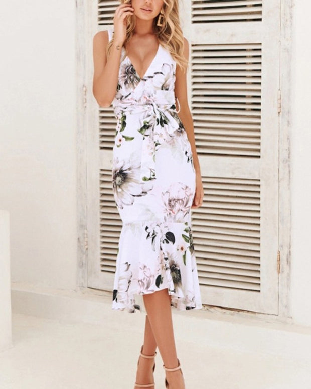 Lace-up Floral Print Skinny Waist Sleeveless Mermaid Maxi Dress