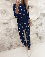 Stars Print Long Sleeve Round Neck Pajamas Set