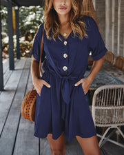 V-Neck Button Detail Mini Dress