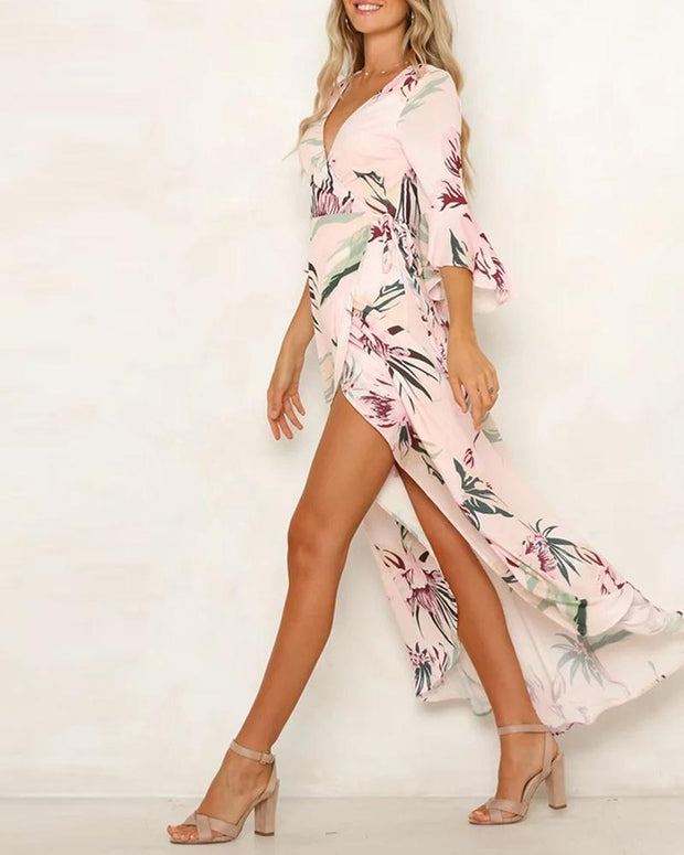Floral Print V-Neck Split Dress