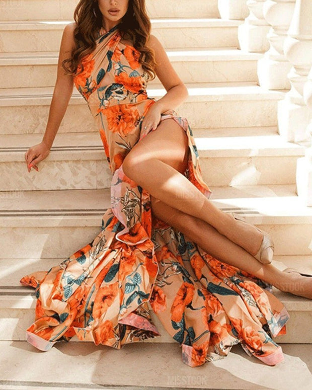 All Over Print Halter Sleeveless Mermaid Slit Maxi Dress