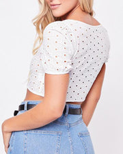 Square Neck Perforated Crop Top