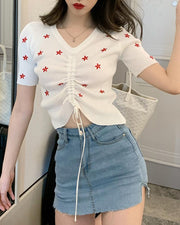 Floral Embroidery Knitted Top