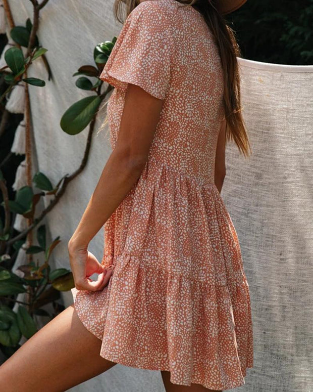 Floral Dot Smock Detail Dress