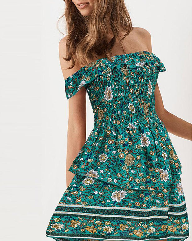 Floral Off Shoulder Boho Mini Dress