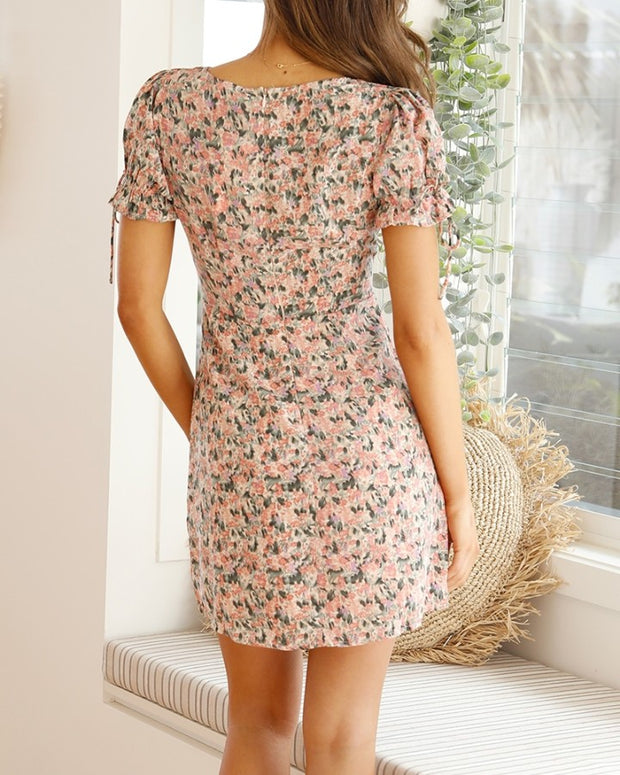 Floral Print Skinny Waist Short Sleeve Mini Dress