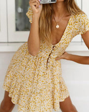 Floral Button Front Mini Dress