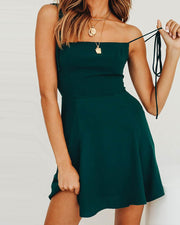 Solid Tie Strap Cami Dress