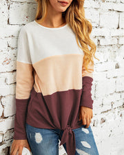 Colorblock Long Sleeve Knotted Casual Blouse