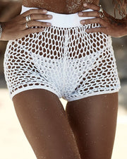 Hollow Out Fishnet Beach Shorts