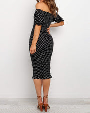 Polka Dot Off Shoulder Puff Sleeve Bodycon Midi Dress