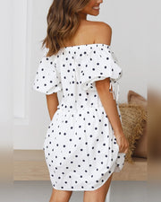 Polka Dot Off Shoulder Short Sleeve Mini Dress