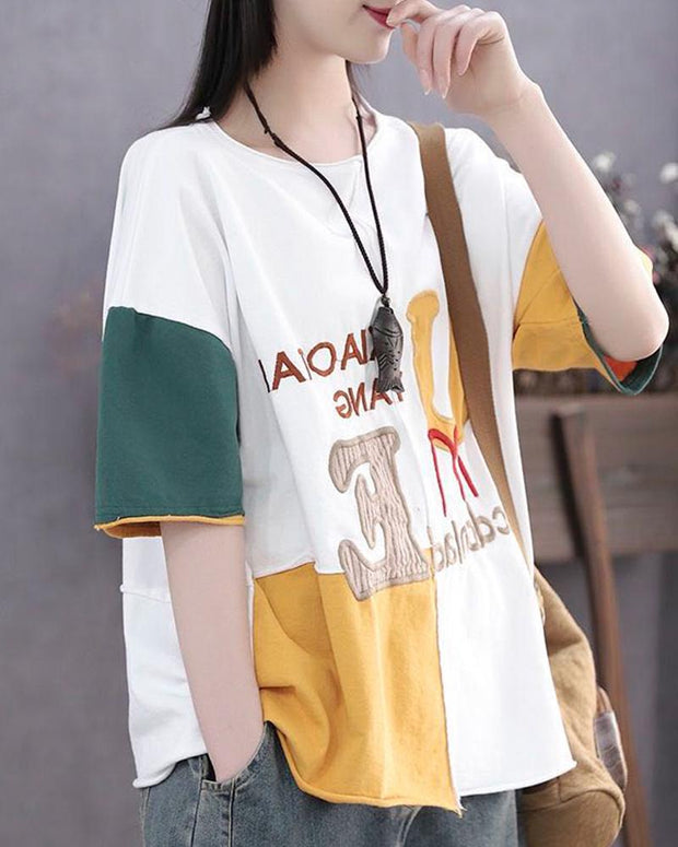 Letter Embroidery Contrast T-Shirt