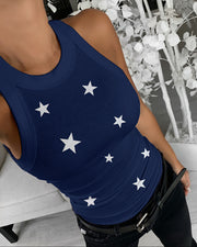 Star Print Sleeveless Casual Top