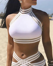 Ladder Cut Out Halter Crisscross Bikini Set