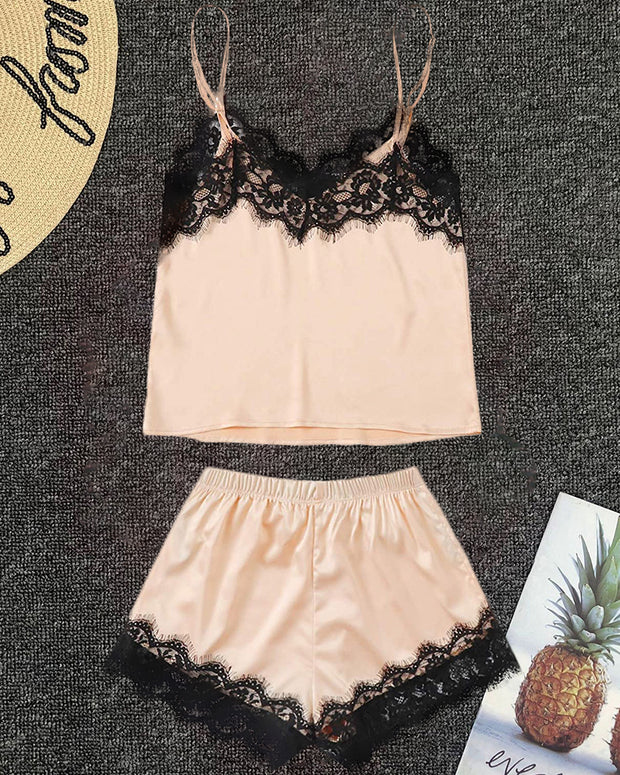 V-neck Lace Trim Cami Sets