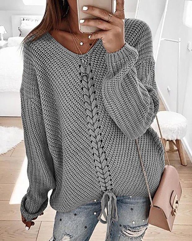 Eyelet Lace-up Knitt Casual Sweater