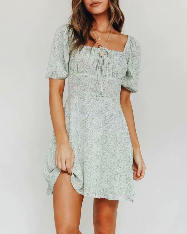 Floral Print Short Sleeve Shirring Casual Dress