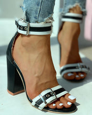 Ankle Buckled Colorblock Chunky Heels