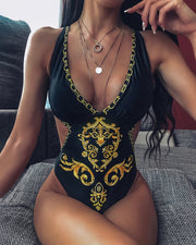 Paisley Print Chain Pattern One Piece Swimsuit