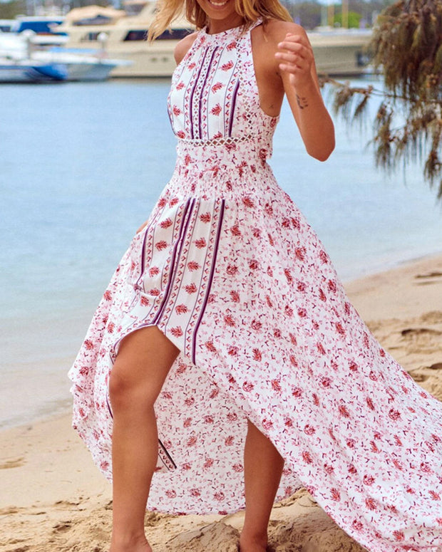 Floral Print Sleeveless High Sllit Maxi Dress
